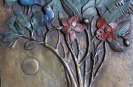 Afrikanischer Baum, Bronze, farbig patiniert, 32 x 44 cm